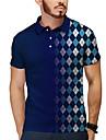 Homens Camisa de golfe Camisa de tenis Impressao 3D Geometria Botao para baixo Manga Curta Casual Blusas Casual Moda Respiravel Azul Marinha / Esportes