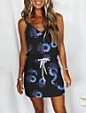 Women\'s A Line Dress Short Mini Dress figure 1 figure 2 image 3 Gray White Black Sleeveless Pattern Summer Casual 2021 S M L XL XXL