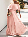 Women\'s Swing Dress Maxi long Dress Blue Yellow Blushing Pink Black Rose Red Half Sleeve Solid Color Pleated Summer Off Shoulder Elegant Party 2021 S M L XL XXL XXXL