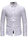 Men\'s Shirt Graphic Print Long Sleeve Weekend Tops Cotton Lightweight Comfortable White Black Navy Blue