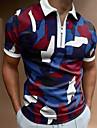 Men\'s Golf Shirt Camo / Camouflage Zipper Short Sleeve Street Tops Casual Fashion Breathable Comfortable Blue