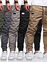 Homens a moda Simples Corredor Calcas Calcas Cor Solida Cintura elastica Com Cordao Exercito verde Caqui Cinza Claro Preto Cinzento Escuro