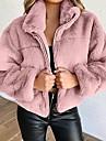 여성용 테디 코트 거리 캐쥬얼 일상 가을 겨울 짧은 코트 보통 방풍 따뜨하게 유지 캐쥬얼 자켓 긴 소매 한 색상 패치 워크 푸른 옐로우 블러슁 핑크