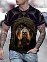 Herren Unisex Tee T-Shirt Hemd 3D-Druck Hund Grafik-Drucke Druck Kurzarm Alltag Oberteile Freizeit Designer Gross und hoch Schwarz