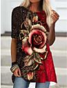 Női Pólóruha Rövid mini ruha Bíbor Lóhere Narancssárga Rubin Féhosszú Virágos Nyomtatott Tavasz Nyár Kerek Alkalmi Szabadság 2021 S M L XL XXL 3XL