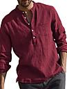 Bărbați Cămașă non-imprimare Culoare solidă cămăși cu guler Manșon Lung Zilnic Topuri Casual Șic Stradă Chinoiserie Roșu Vin Gri Kaki