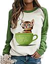 womens glasses cat 프린트 스웨트 raglan shirt color matching crewneck t-shirt long sleeve shirts for women casual fall green