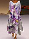 Női A vonalú ruha Maxi hosszú ruha Medence Bíbor Sárga Arcpír rózsaszín Narancssárga Világoszöld Hosszú ujj Virágos Színátmenet Nyomtatott Ősz Kerek Alkalmi 2021 S M L XL XXL