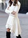 Dámské Svetrové šaty Krátké mini šaty Bílá Pevná barva Vícevrstvé Krajka plus vysoká nízká Podzim Zima Stojáček Elegantní Na běžné nošení 2021 S M L XL XXL XXXL 4XL