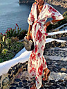 Women\'s Shirt Dress Maxi long Dress Red Half Sleeve Floral Print Summer Shirt Collar Casual Holiday 2021 S M L XL XXL