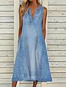 Women\'s Shift Dress Maxi long Dress Blue Sleeveless Solid Color Pocket Spring Summer V Neck Casual Holiday 2021 S M L XL XXL 3XL / Cotton / Denim Dress / Cotton
