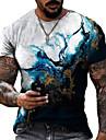 Men\'s Tee T shirt Shirt 3D Print Graphic Geometric Crack Plus Size Short Sleeve Casual Tops Basic Designer Slim Fit Big and Tall Blue Green White