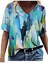 dámské letní abstraktní malby tištěné topy tričko s krátkým rukávem a výstřihem do krku ležérní tričko lehký top tunika pytlovité halenky modrá