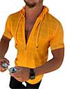 בגדי ריקוד גברים חולצה הדפסים אחרים צבע אחיד שרוך שרוולים קצרים רחוב צמרות אופנתי סגנון רחוב מגניב סגנונות חוף תלתן כתום לבן