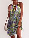 Women\'s Sheath Dress Knee Length Dress Purple Yellow Green Red Sleeveless Print Summer Round Neck Casual 2021 S M L XL XXL 3XL