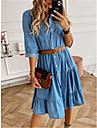 Women\'s Denim Shirt Dress Knee Length Dress Light Blue Half Sleeve Solid Color Button Summer Shirt Collar Casual 2021 S M L XL XXL 3XL / Cotton