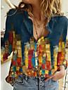 여성용 블라우스 셔츠 그래픽 추상화 긴 소매 단추 프린트 셔츠 카라 베이직 탑스 푸른
