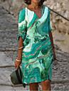 Női A vonalú ruha Térdig érő ruha Medence Lóhere Barna Háromnegyedes Színátmenet Nyomtatott Nyár V-alakú Alkalmi 2021 S M L XL XXL 3 XL 4 XL 5 XL