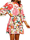 Women\'s A Line Dress Short Mini Dress Blushing Pink 3/4 Length Sleeve Floral Layered Print Summer Round Neck Casual 2021 S M L XL XXL 3XL