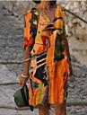 Női Váltó ruha Térdig érő ruha Narancssárga Féhosszú Nyomtatott Nyomtatott Ősz Nyár V-alakú Alkalmi 2021 S M L XL XXL 3XL 4 XL