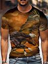 Miesten Sukupuolineutraali T-paidat T-paita Paita 3D-tulostus Graafiset tulosteet Kotka Painettu Lyhythihainen Päivittäin Topit Vapaa-aika Suunnittelija Iso ja pitkä Oranssi