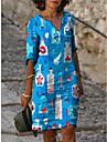 Women\'s Shift Dress Knee Length Dress Blue Green White Light Blue Half Sleeve Print Spring Summer Casual 2021 S M L XL XXL XXXL