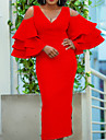 Women\'s Sheath Dress Midi Dress Blue Blushing Pink Red Long Sleeve Solid Color Hollow Out Hole Spring Summer Deep V Sexy 2021 S M L XL XXL XXXL