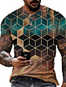 Муж. Футболки Футболка Рубашка 3D печать Графика Геометрический принт Большие размеры С короткими рукавами Повседневные Верхушки Классический Оригинальный рисунок Облегающий крой Большой и высокий A
