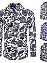 Men\'s Shirt Snake Print Long Sleeve Casual Tops Classic Breathable Blue White Black