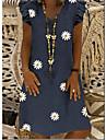 Női A vonalú ruha Térdig érő ruha Szürke Fekete Sötétkék Rövid ujjú Százszorszép Tavasz Nyár Alkalmi 2021 S M L XL XXL