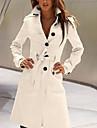 여성용 코트 캐쥬얼 일상 작동 가을 겨울 봄 긴 코트 스탠드 보통 시크&모던 자켓 긴 소매 솔리드 뒷 주머니 옐로우 화이트 블랙