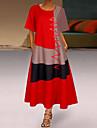 Women\'s Swing Dress Midi Dress Gray Khaki White Red Short Sleeve Geometric Color Block Spring Summer Round Neck Chic & Modern Casual Loose 2021 S M L XL XXL 3XL 4XL 5XL