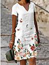 Women\'s Shift Dress Knee Length Dress Gray Green White Short Sleeve Floral Flower Print Spring Summer V Neck Casual Holiday 2021 S M L XL XXL XXXL