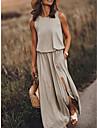 Γυναικεία Φόρεμα ριχτό Μακρύ φόρεμα Αμάνικο Συμπαγές Χρώμα Μονόχρωμες Σκίσιμο Άνοιξη Καλοκαίρι Στρογγυλή Ψηλή Λαιμόκοψη Στρογγυλή Λαιμόκοψη Κομψό Καθημερινό Εξόδου Δουλειά 2021 Τ M L XL 2XL 3XL 4XL