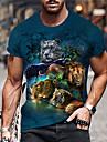 Homens Unisexo Camisetas Camiseta Camisa Social Impressao 3D Estampas Abstratas Animal Estampado Manga Curta Diario Blusas Casual Designer Grande e Alto Azul