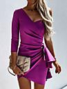 여성용 A 라인 드레스 미니 드레스 퍼플 블러슁 핑크 베이지 3/4 길이 소매 한 색상 주름 잡힌 가을 원 숄더 캐쥬얼 2021 S M L XL