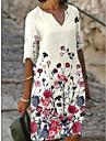 Női Váltó ruha Térdig érő ruha Bíbor Szürke Lóhere Tengerészkék Fehér Fekete Világoskék Féhosszú Virágos Nyomtatott Tavasz Nyár V-alakú Alkalmi Klasszikus 2021 S M L XL XXL 3 XL / Bő