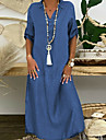 여성용 시프트 드레스 맥시 롱 드레스 다크 블루 라이트 블루 반팔 솔리드 컬러 스플릿 가을 봄 셔츠 칼라 우아한 캐주얼 느슨한 휴일 2021 s m l xl xxl 3xl 4xl 5xl