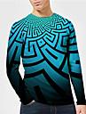 Men\'s Unisex Tee T shirt Shirt 3D Print Graphic Prints Geometry Print Long Sleeve Daily Tops Casual Designer Big and Tall Blue