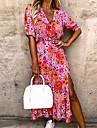 여성용 스윙 드레스 미디 드레스 핑크 꽃 큰 붉은 꽃 파란색 보라색 꽃 흰색과 파란색 꽃 연근 오렌지 꽃 빨간색과 흰색 잎 짧은 소매 꽃장식 스플리트 봄 여름 V 넥 활동적 캐쥬얼 2021 S M L XL XXL XXXL