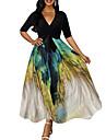 Women\'s A Line Dress Maxi long Dress Black Half-Sleeve Print Lace up Patchwork Print Fall Spring V Neck Elegant Sexy 2021 S M L XL XXL / Party / Holiday