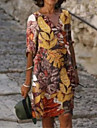 Női A vonalú ruha Térdig érő ruha Medence Bíbor Sárga Lóhere Háromnegyedes Virágos Nyomtatott Nyár V-alakú Alkalmi 2021 S M L XL XXL 3 XL 4 XL 5 XL