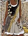 Női A vonalú ruha Térdig érő ruha Fekete Ujjatlan Pillangó Állat Nyomtatott Tavasz Nyár Csónaknyak Alkalmi Szabadság 2021 S M L XL XXL 3XL