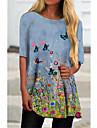 Per donna Abito a T shirt Mini abito corto Blu Mezza manica Fantasia floreale Farfalla Con stampe Autunno Estate Rotonda Casuale Per eventi 2021 S M L XL XXL 3XL