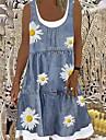 Women\'s A Line Dress Knee Length Dress Gray Sleeveless Floral Print Spring Summer Casual 2021 S M L XL XXL 3XL