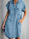 Women\'s Denim Shirt Dress Short Mini Dress Light Blue Short Sleeve Solid Color Pocket Summer Shirt Collar Chic & Modern Hot Casual 2021 S M L XL XXL