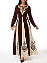 Women\'s Sheath Dress Maxi long Dress Wine Khaki Black Long Sleeve Print Print Fall Spring Round Neck Elegant 2021 S M L XL XXL