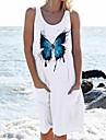 Women\'s Shift Dress Knee Length Dress Blue Blushing Pink White Black Sleeveless Butterfly Pocket Print Spring Summer U Neck Casual Loose 2021 S M L XL XXL XXXL 4XL 5XL / Beach