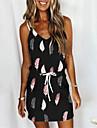 Women\'s Strap Dress Short Mini Dress White Black Sleeveless Leaf Lace up Pocket Patchwork Spring Summer Round Neck Casual 2021 S M L XL XXL