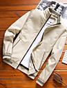 בגדי ריקוד גברים ג\'קט יומי סתיו חורף רגיל מעיל רגיל שמור על חום הגוף יום יומי Jackets שרוול ארוך אחיד טלאים פול צהוב שחור / כותנה